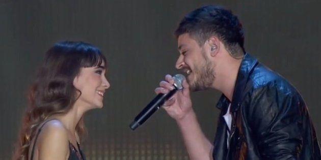 Aitana y Cepeda, durante un concierto de