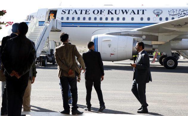 SANA'A, YEMEN - DECEMBER 04: Yemeni Houthi delegation members to leave Yemen to attend the UN-sponsored...