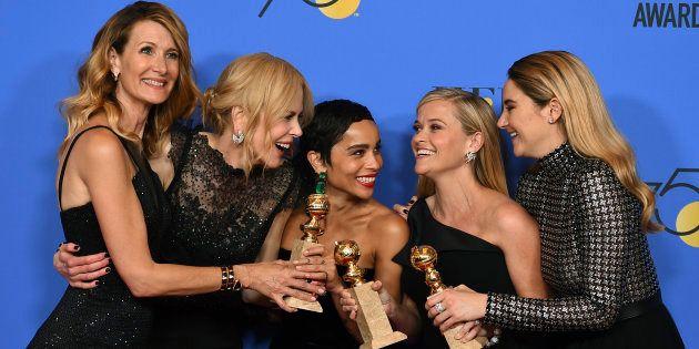 De izquierda a derecha, las actrices Laura Dern, Nicole Kidman, Zoe Kravitz, Reese Witherspoon y Shailene...