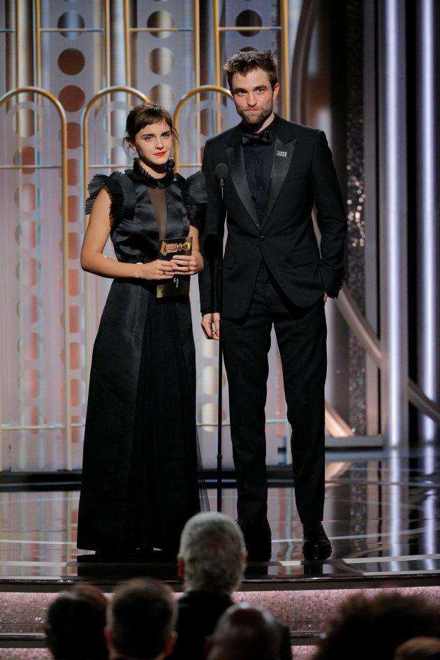 Emma Watson y Robert Pattinson en la 75 edición de los Globos de