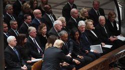 Trump ignora a los Clinton en el funeral de Bush