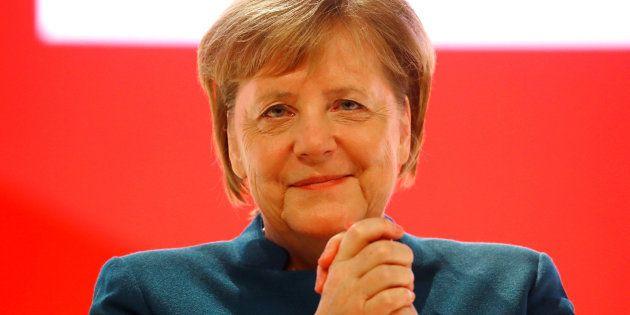La canciller alemana, Angela Merkel, durante su despedida este