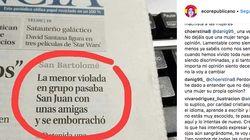 Indignación por el titular de este periódico sobre la chica violada en San