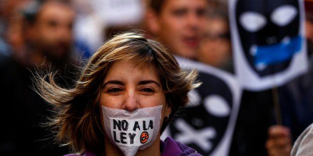 Protesta contra la Ley Mordaza celebrada en Madrid el 20 de diciembre de