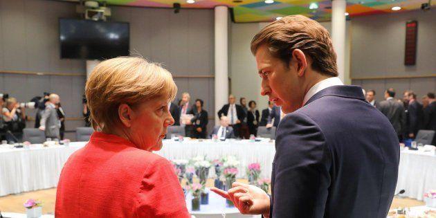 La canciller alemana, Angela Merkel, y su homólogo austriaco, Sebastian
