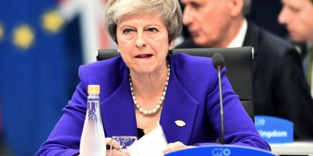 La primera ministra de Reino Unido, Theresa May, en la reciente reunión del G20 en