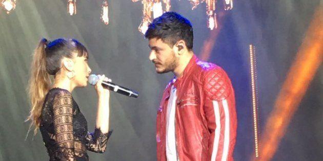 Aitana y Cepeda en el concierto de Operación Triunfo en el estadio Santiago Bernabéu de