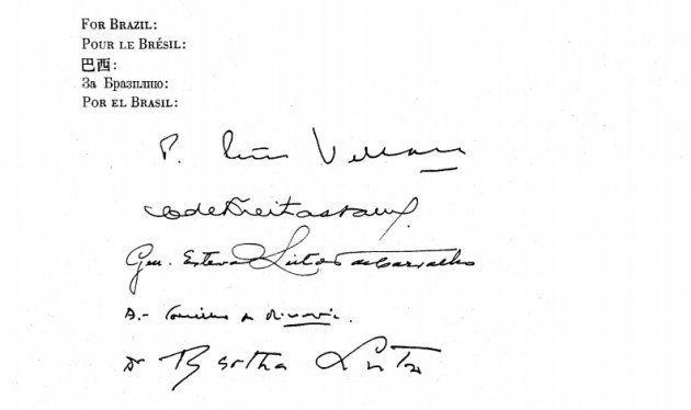 Firma de Bertha Lutz en un documento de la ONU previo a la Declaración Universal de Derechos