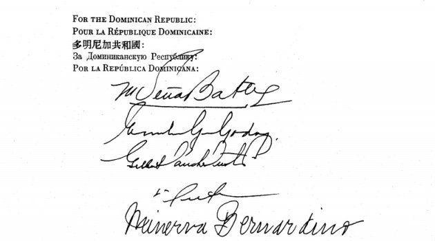 Firma de Minerva Bernardino en un documento de la ONU previo a la Declaración Universal de Derechos