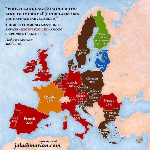 Mapa de lenguas para mejorar por los jóvenes