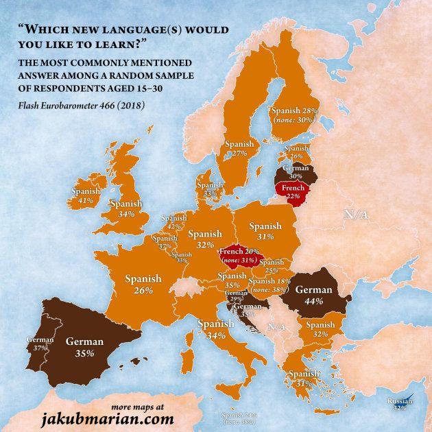 Mapa de lenguas que les gustaría aprender a los jóvenes