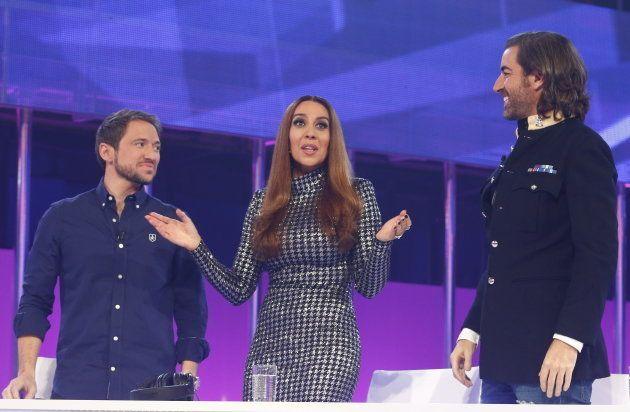 Manuel Martos, Monica Naranjo y Joe Perez-Orive durante el programa una gala del