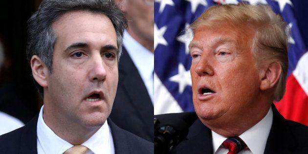 Michael Cohen y Donald Trump, en sendas imágenes de