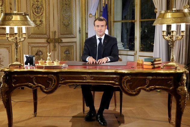 El presidente francés, Emmanuel Macron, en su discurso del pasado