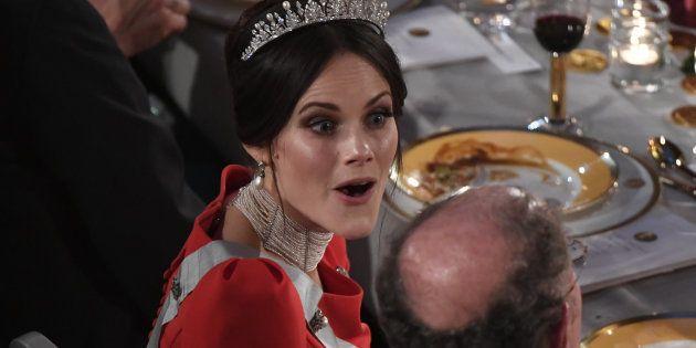 La princesa Sofía en un momento del banquete de los Nobel en