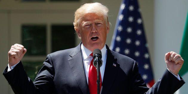 Donald Trump, durante una rueda de prensa ofrecida en la Casa Blanca, en abril