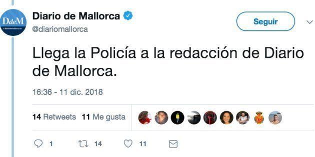 La Policía requisa los teléfonos móviles a dos periodistas de 'Diario de Mallorca' y Europa
