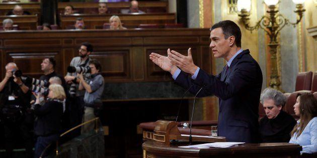 El presidente del Gobierno, Pedro Sánchez, durante su comparecencia en el