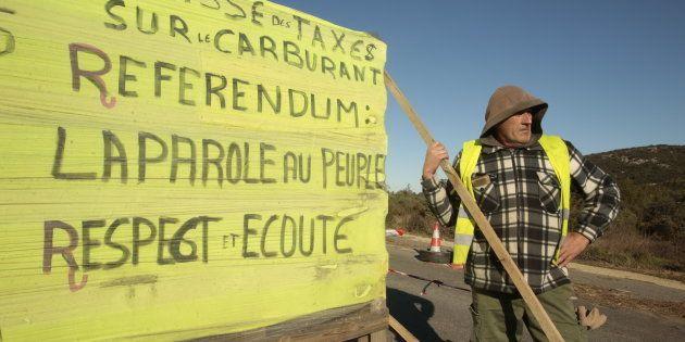Un manifestante de los chalecos amarillos, el pasado martes en Dions,