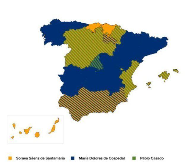 Sáenz de Santamaría gana la primera vuelta de las primarias del PP con el 37% de los votos y Casado queda...