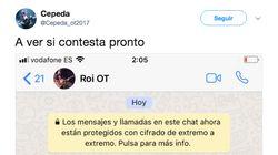 Cepeda triunfa con su WhatsApp a Roi tras ser
