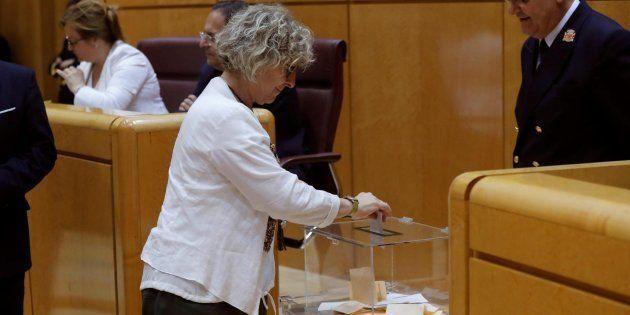 La portavoz de ERC, Mirella Cortès, durante la segunda votación para elegir a los cuatro miembros del...