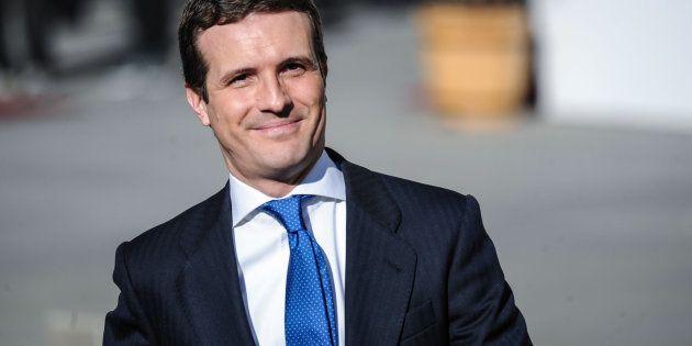 El presidente del PP, Pablo Casado, llega al acto de celebración de los 40 años de la Constitución en...