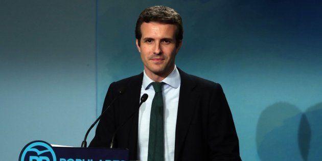 El vicesecretario del PP, Pablo Casado, durante la rueda de prensa en la sede del