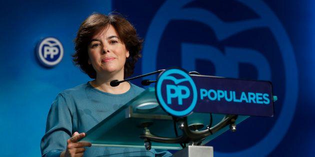 Soraya Sáenz de Santamaría comparece en la sede del PP tras conocer su victoria en las