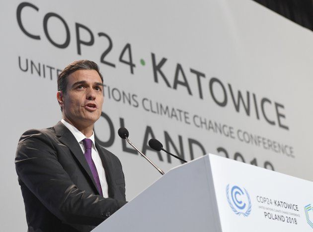 El presidente del Gobierno, Pedro Sánchez, habla en la sesión inaugural de la COP24 en Katowice,