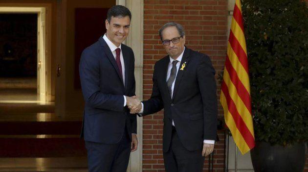 Pedro Sánchez y Quim Torra, en La
