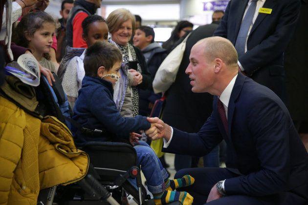 El duque de Cambridge durante la visita al hospital en la presentación del programa de