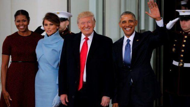 Llegada del matrimonio Trump a la Casa Blanca, donde fue recibido por los Obama, el 20 de