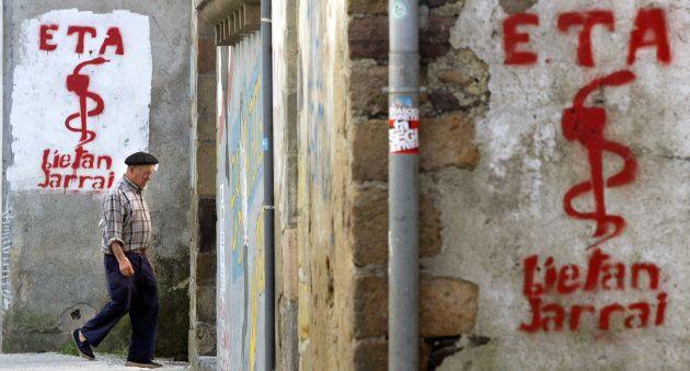 Pintadas a favor de ETA en la localidad navarra de Goizueta, en