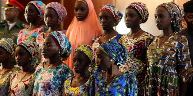 Parte de las niñas de Chibok secuestradas por Boko Haram, en una foto de