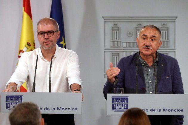 Los líderes de UGT, Pepe Álvarez, y CCOO, Unai
