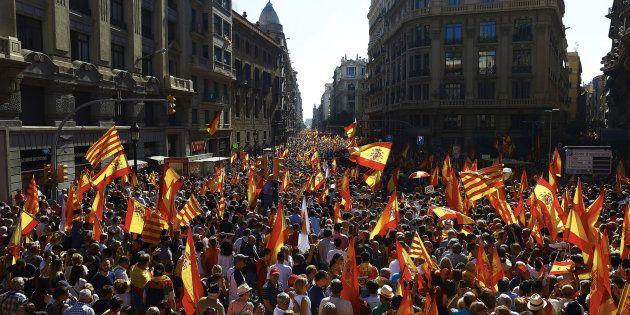 Una manifestación convocada por Societat Civil Catalana, en una imagen de
