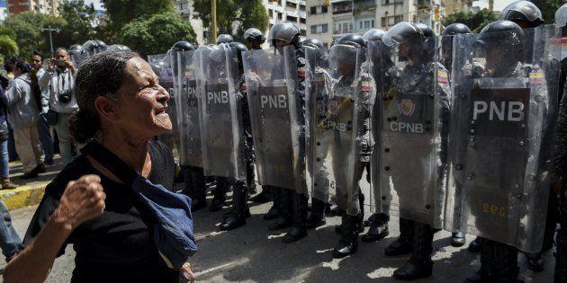 Una protesta en Caracas en