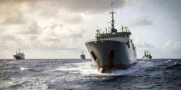 Un barco durante la pesca de