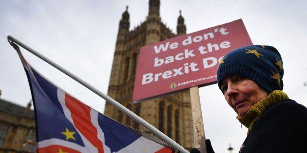 Una activista pro-UE se manifiesta a las puertas del Parlamento