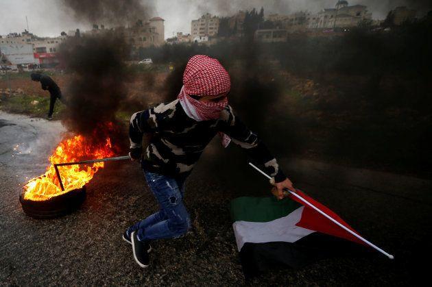 Protestas cerca del asentamiento judío de Beit El, cerca de Ramallah por la visita de Mike
