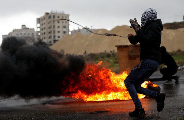 Protestas por la visita de Mike Pence a Israel en Beit El, cerca de