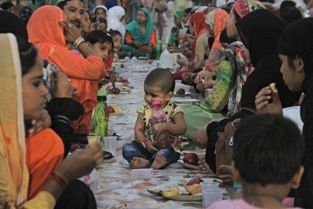 Families broke the fast during Iftar at the Jama Masjid on the 1st day of holy fasting month of Ramadan,...