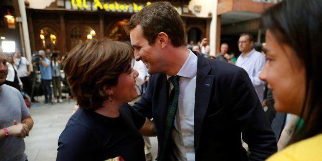 Los candidatos a la Presidencia del PP Pablo Casado y Soraya Sáenz de