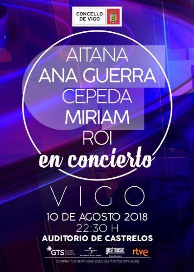 Cartel del concierto de varios concursantes de Operación Triunfo en Vigo el 10 de