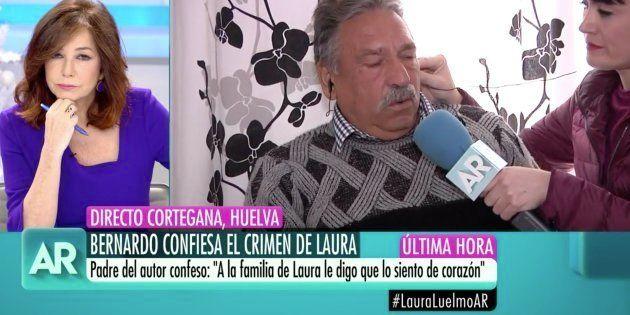 Ana Rosa Quintana entrevista al padre de Bernardo Montoya, asesino confeso de Laura Luelmo, en 'El Programa...