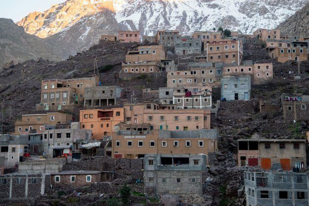 A picture taken on December 18, 2018 shows the tourist village of Imlil in the High Atlas range. - Moroccan...