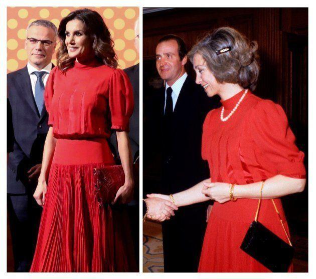 La reina Letizia, en los V Premios Nacionales de la Industria de la Moda con un vestido rojo que la reina...