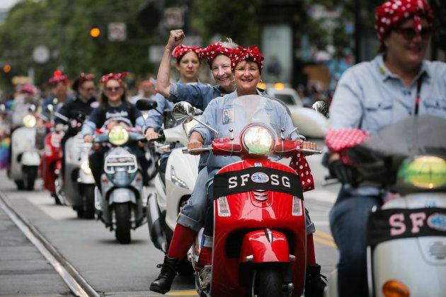 Durante una marcha por las mujeres en San