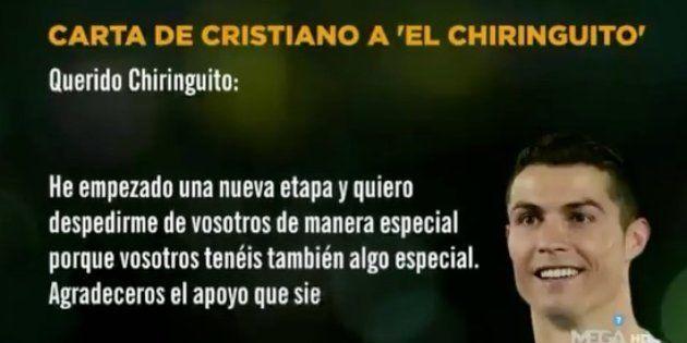 La carta de Ronaldo a 'El Chiringuito de Jugones' que da que hablar por un significativo